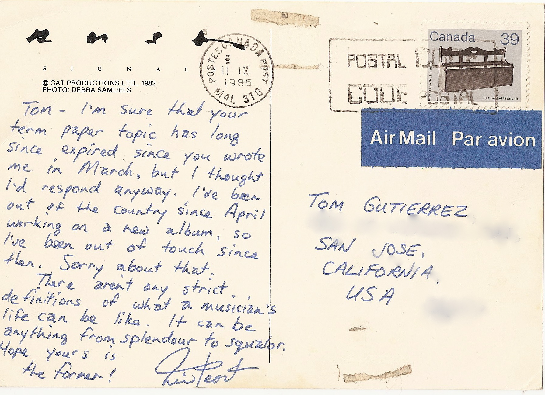 Postcard from Neil Peart back